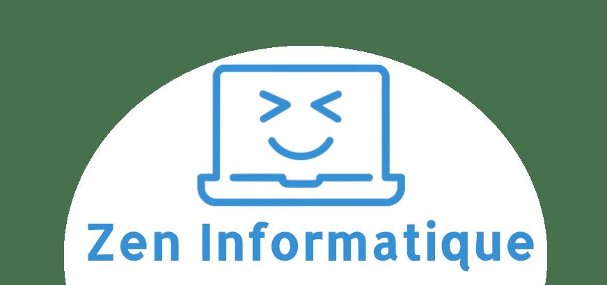 Logo Zen Informatique moniteur bleu souriant sur fond blanc